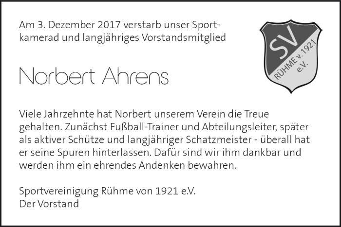 Nachruf Norbert Ahrens
